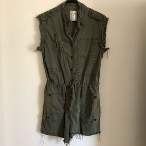 Army green distressed jumpsuit